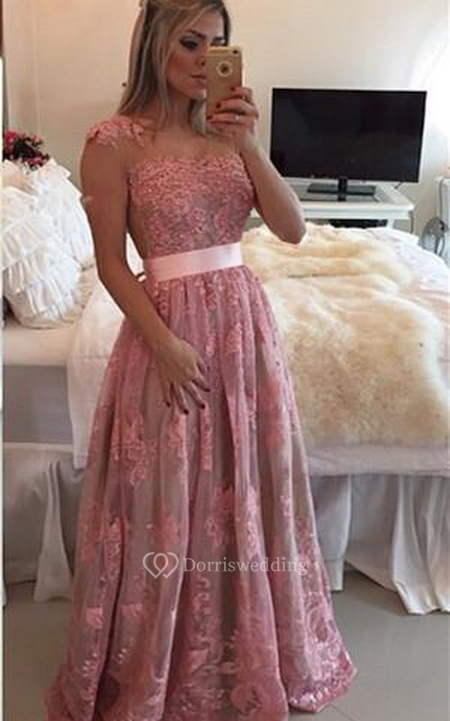 Glamorous Lace Appliques A-line Prom Dress 2018 Beadings Bowknot