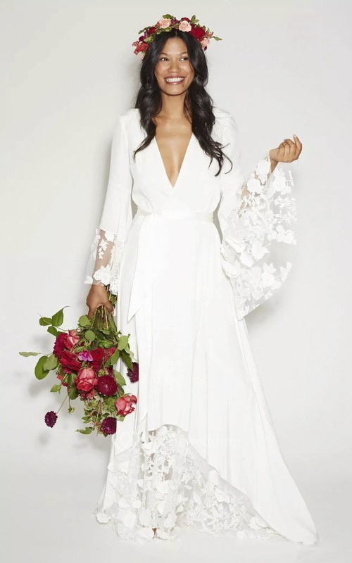 Simple Bohemian Long Sleeves Deep V Neck Hippie Beach Wedding Gown ...