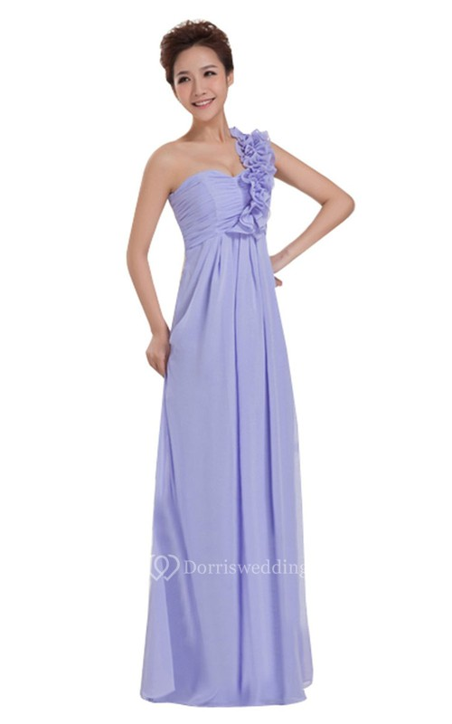 One-shoulder Long Chiffon Dress With Floral Strap - Dorris Wedding