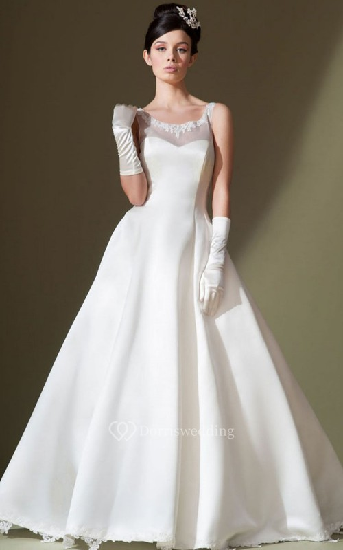 A-Line Appliqued Sleeveless Long Bateau Satin Wedding Dress With Low-V Back