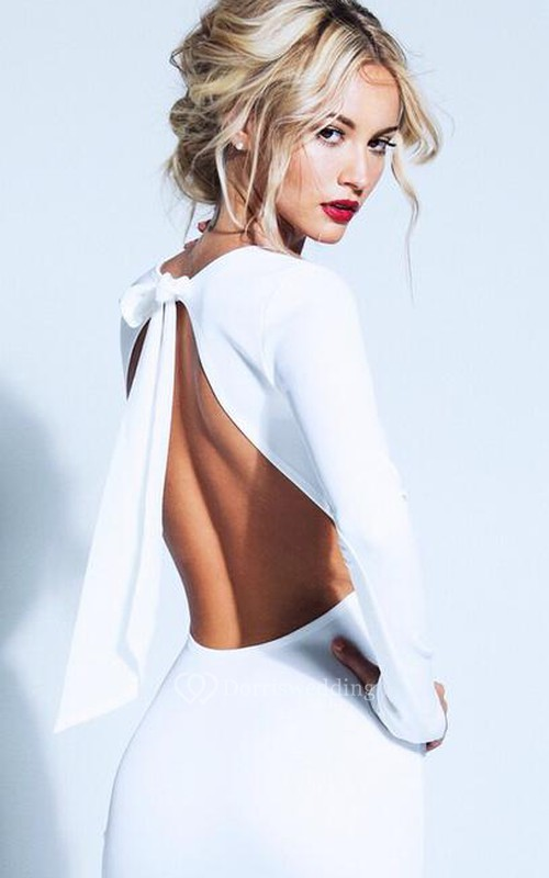 Elegant Backless Bowknot White Homecoming Dress Long Sleeve Short Prom Gown