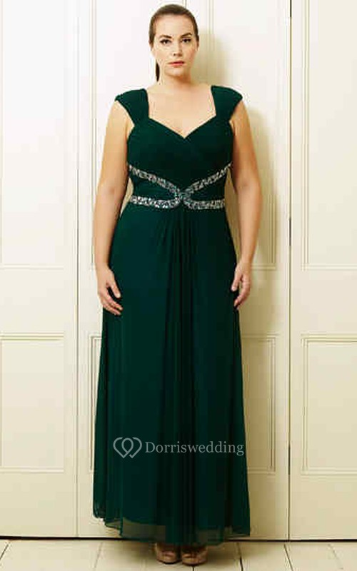 A-Line Knee-Length Sleeveless Beaded Queen-Anne Chiffon Plus Size Prom Dress With Ruching