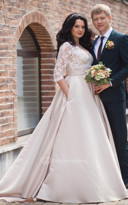 V-Neck Illusion Long Sleeve A-Line Satin Appliqued Plus Size Wedding Dress