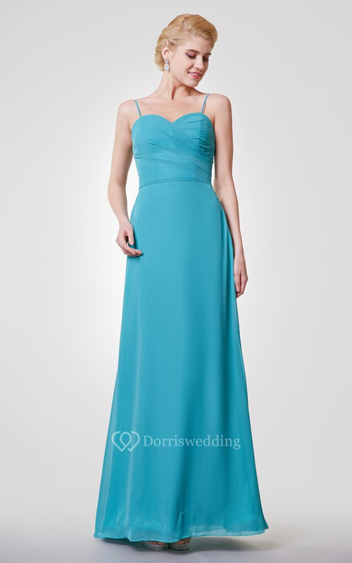 Crisscross Bodice Spaghetti Straps Sheath Chiffon Long Dress