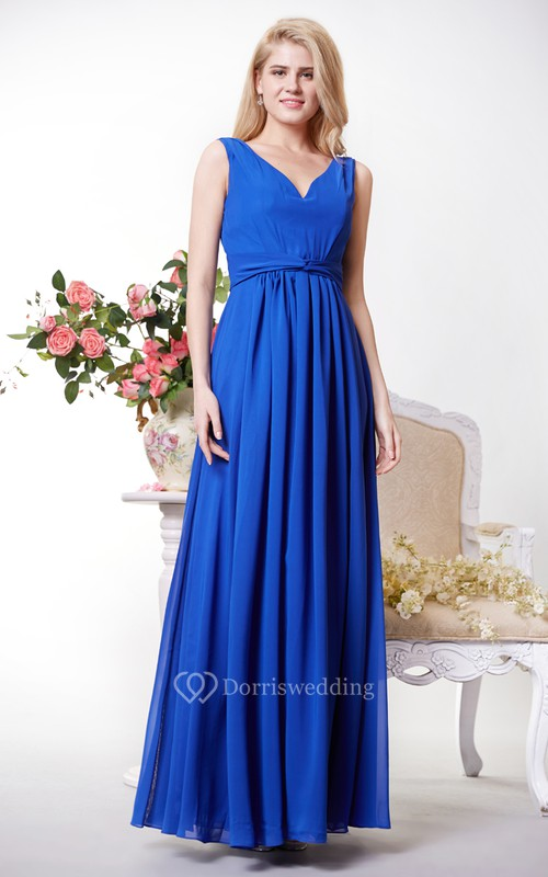 Graceful V-neck Chiffon A-line Gown With V-back