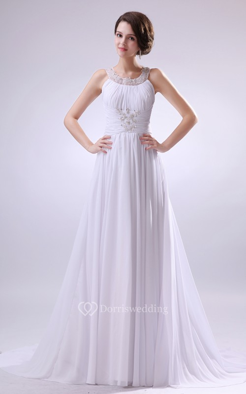 Sleeveless Pleating Dress With Beading and Zipper-Back