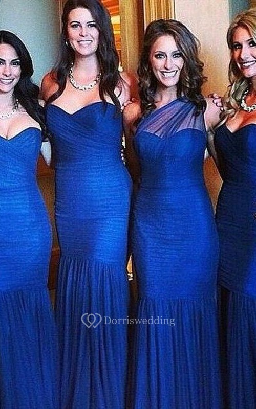 Sexy Mermaid Royal Blue Bridesmaid Dress 2018 Ruched Sleeveless