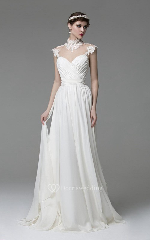 High neck chiffon dress with lace top and keyhole back for Simple wedding dresses for small wedding