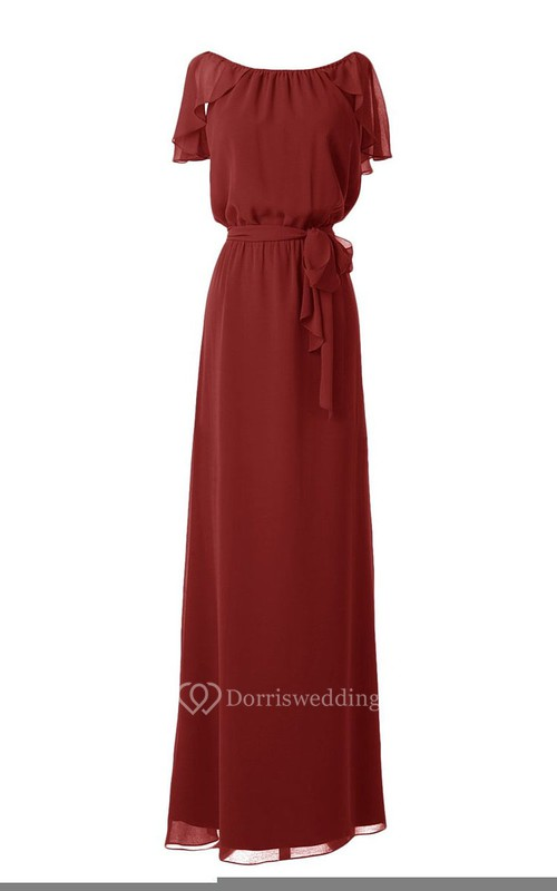 Floor-length Petal Sleeve Gown With Knot Detail