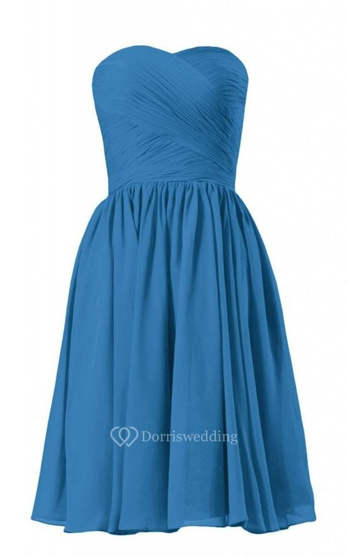 Strapless Asymmetrical Bodice Knee-length Pleated Chiffon Dress