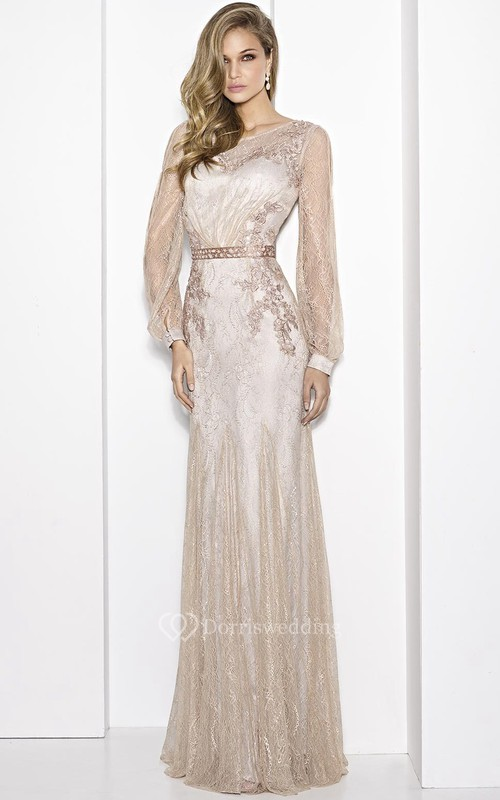 Sheath Floor-Length Scoop-Neck Puff-Sleeve Embroidered Lace Prom ...