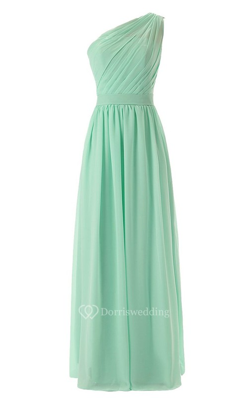 One-shoulder Pleated Chiffon A-line Gown With Satin Band