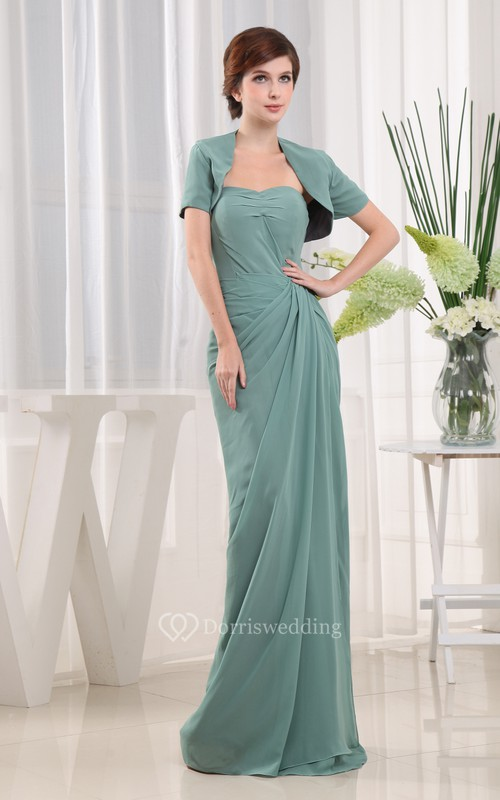 Strapless Chiffon Maxi Dress With Bolero and Ruching