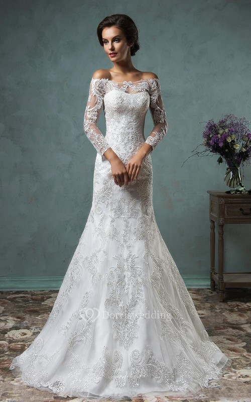Lace a line wedding dress cheap