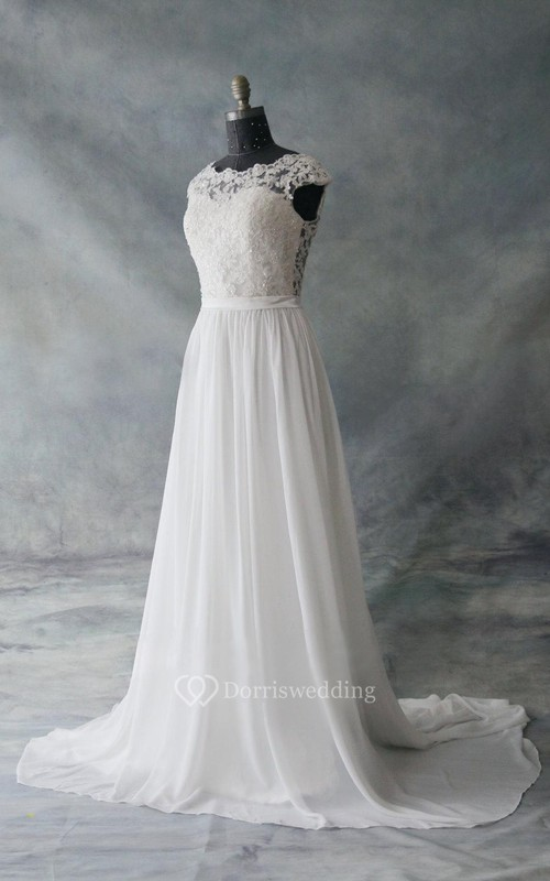 Cap Sleeve Chiffon and Lace Dress With Low-V Back