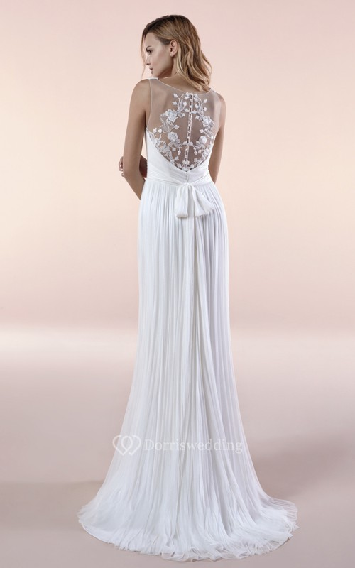 Illusion Sleeveless Deep V-neck Chiffon Gown With Sash And Pleats