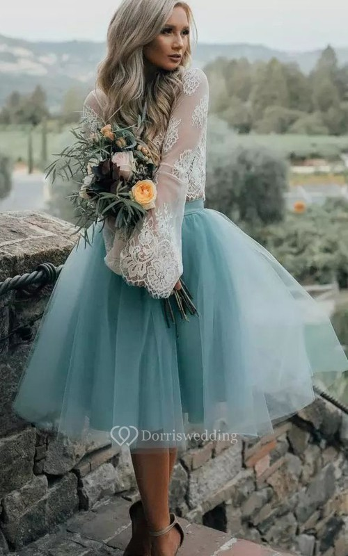 A-line Two Piece Long Sleeve Lace Tulle Illusion Tea-length Homecoming Dress