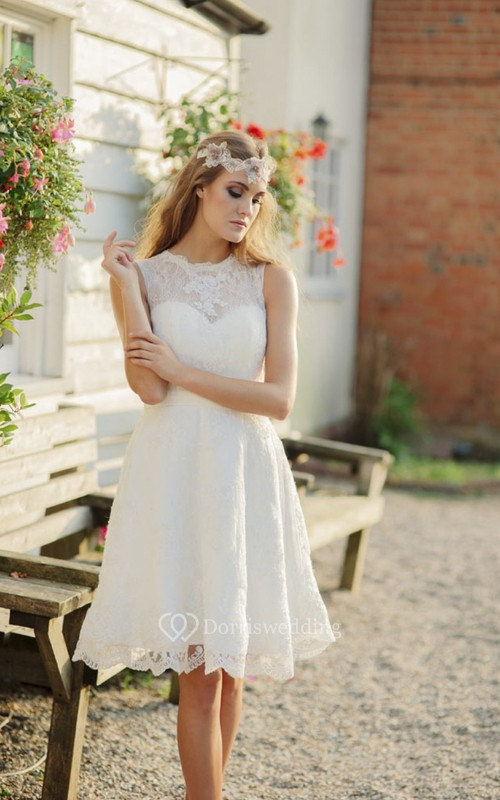 Illusion Jewelry Neckline A-line Sleeveless Knee-length Lace Wedding Dress