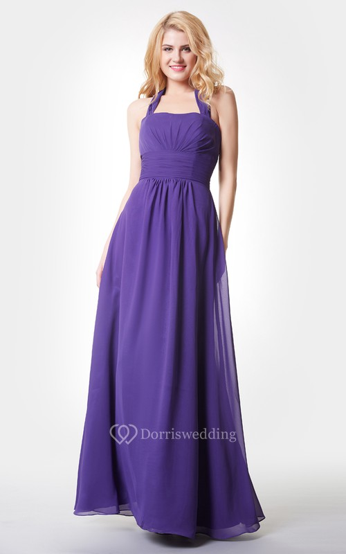 Stylish Backless Ruched A-line Long Chiffon Dress