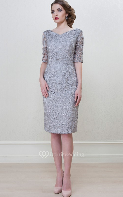 Pencil Knee-Length Half Sleeve Splitted V-Neck Lace Mother Of The Bride Dress