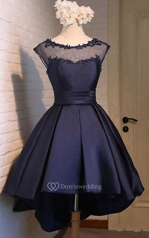 Bateau A-line High-low Short Sleeve Satin Prom Dress with Lace-up Back