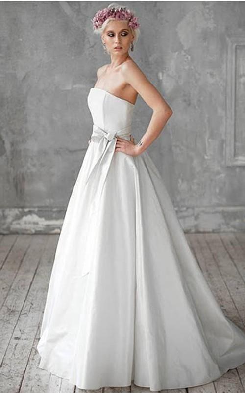 Strapless Taffeta A-Line Bridal Gown With Bow Sash - Dorris Wedding