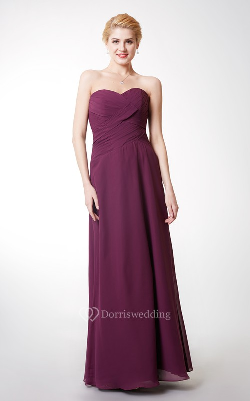 Sweetheart Neckline Ruched A-line Long Chiffon Dress
