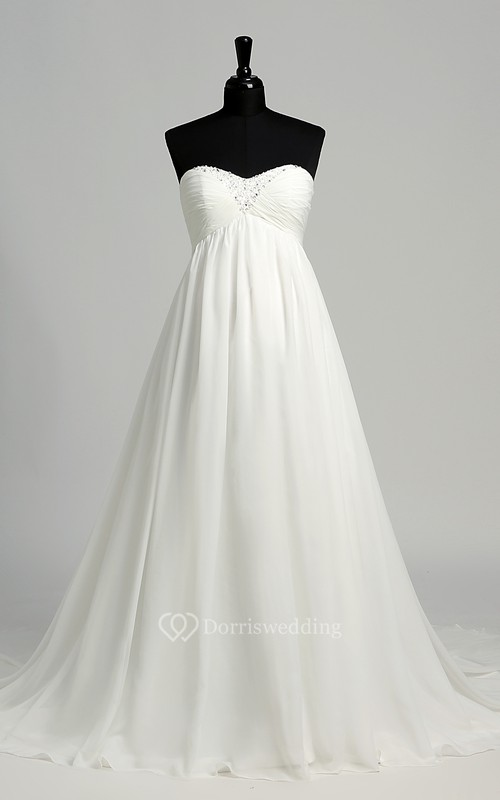 A-line Sweetheart Sleeveless Floor-length Chiffon Maternity Wedding Dress with Court Train