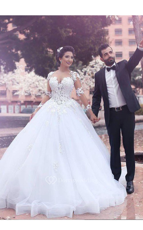 Ball Gown Court Train Sweetheart Long Sleeves Lace Tulle Wedding ...