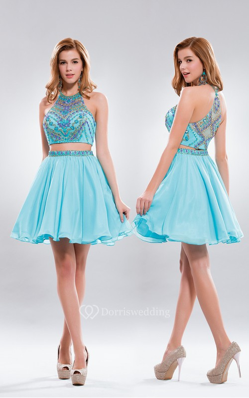 Two-Piece A-Line Short High Neck Sleeveless Chiffon Illusion Dress With Beading And Pleats