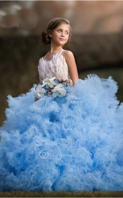 Tulle Spaghetti Cross Back Sash Bow Ball Gown Flower Girl Dress