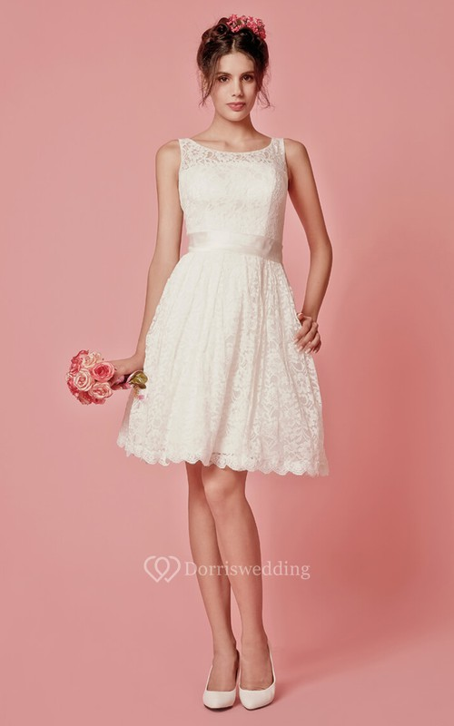 Enchanting Sleeveless Knee Length Lace Dress With Pleats