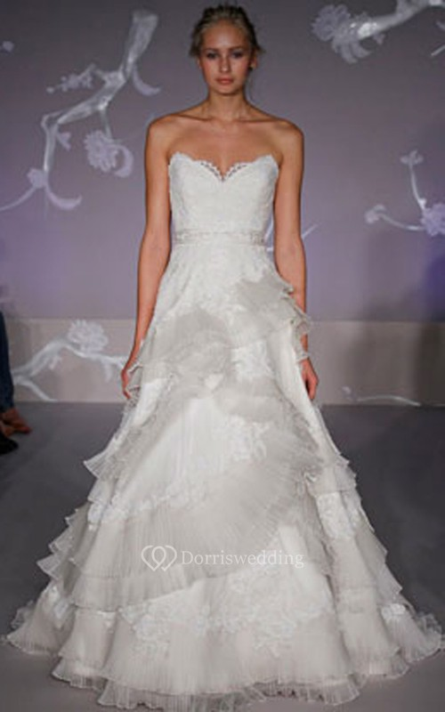 Unique Lace Bodice Organza Ball Gown With Pleated Tiers - Dorris Wedding