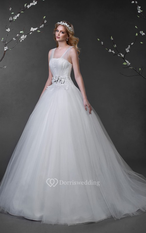 Ball Gown Maxi Sleeveless Lace-Up Tulle Dress With Appliques And ...
