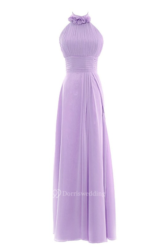 Petal High Neck A-line Gown With Lace-up Back