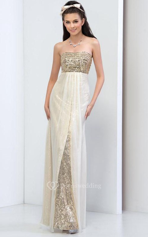 Strapless Beaded Sequins Evening Dress