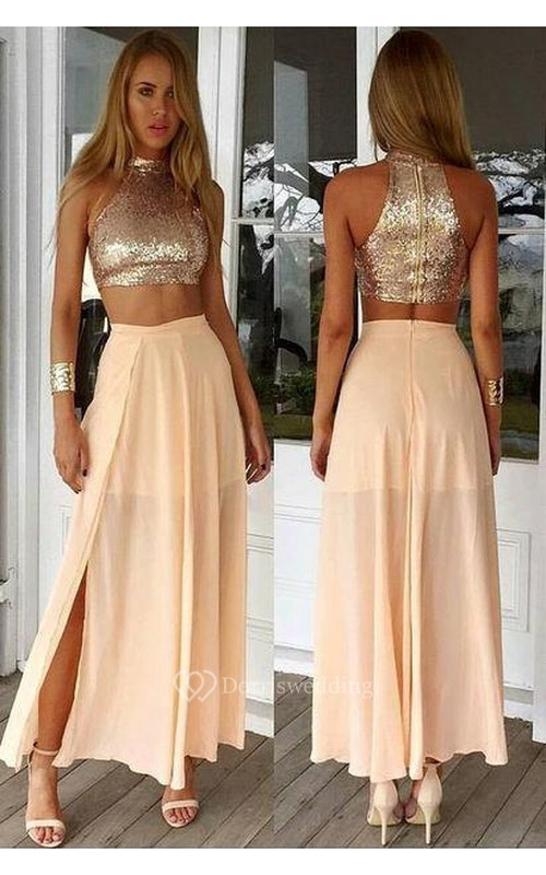 Newest Sequined Two Piece Prom Dress 2018 Front Split Floor-length