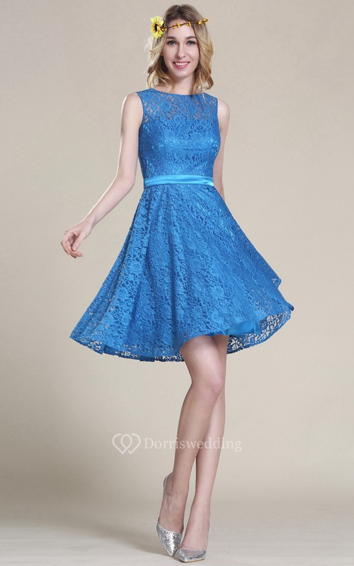 A-Line Short Bateau Sleeveless Lace Lace Zipper Dress