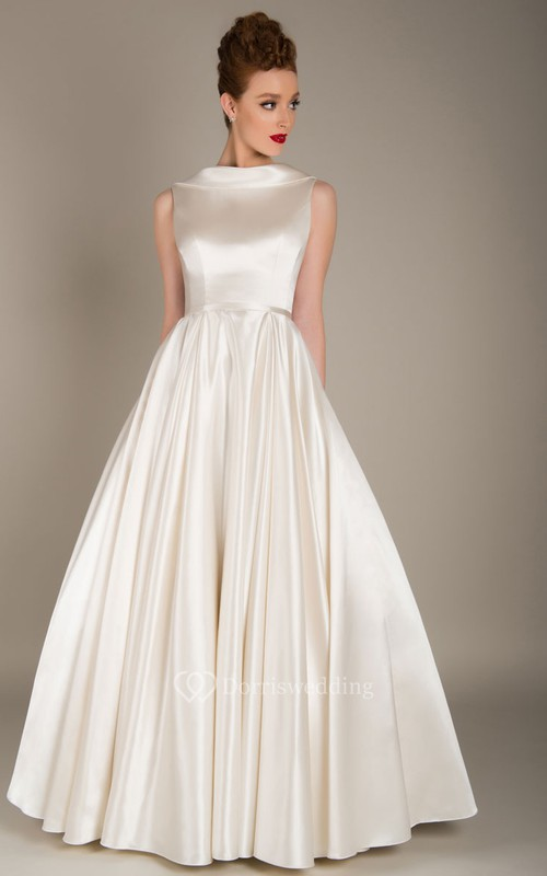 Elegant Satin Floor Length Jewel Neck Sleeveless Wedding Dress with Ruching
