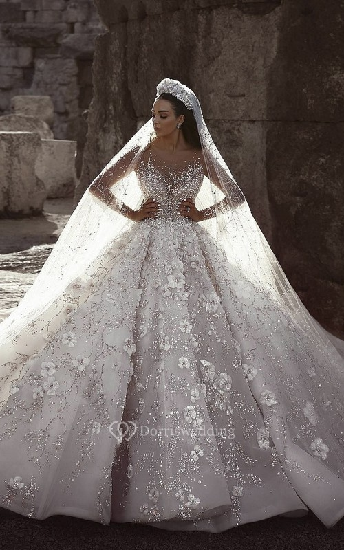 Illusion Long Sleeve 3D Floral Luxury Bridal Ballgown With Beading And Appliques