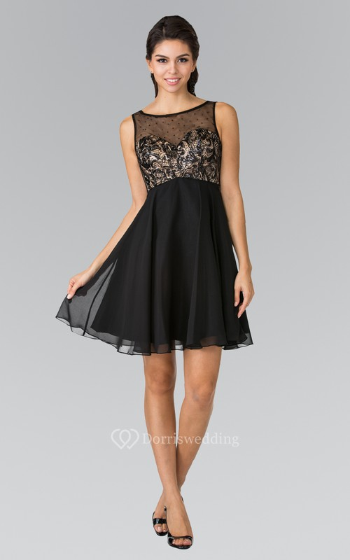 A-Line Short Scoop-Neck Sleeveless Empire Chiffon Low-V Back Dress With Beading