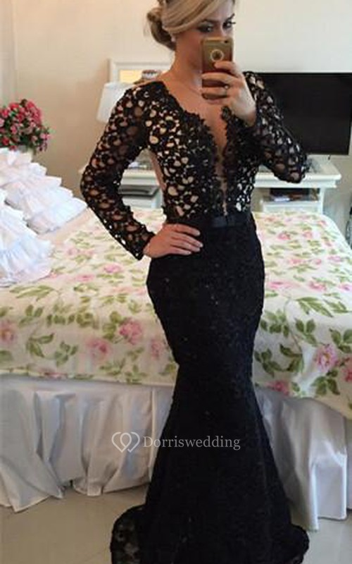 Newest V-neck Black Lace Mermaid Prom Dress 2018 Long Sleeve ...