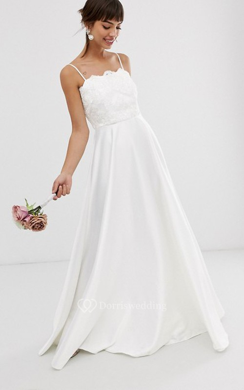 Casual Satin and Lace Sheath Spaghetti Bridal Gown