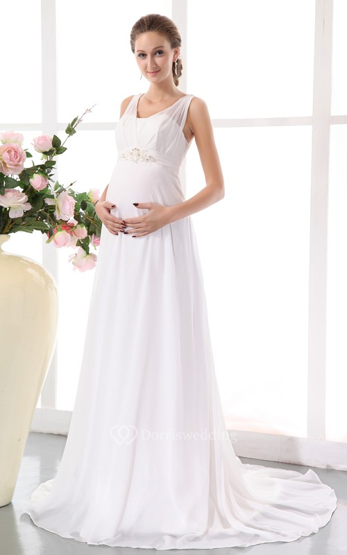 Chiffon Empire Maternity Dress With Belted Waistband
