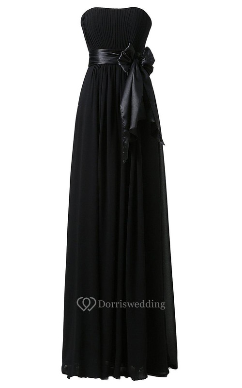 Strapless A-line Chiffon Gown With Bow Tie