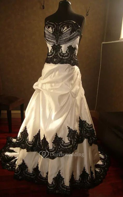 A-Line Taffeta Lace Straps Sleeveless Chapel Train Wedding Dress with Ruffles and Tiers