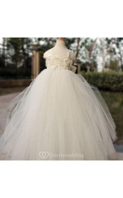 Square Neckline Cap Sleeve Empire Tulle Ball Gown With Flowers