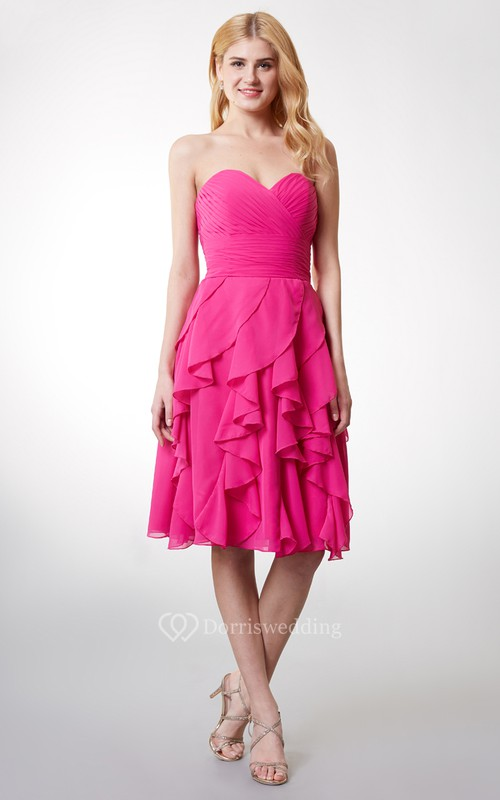 Sleeveless Ruffled Short Chiffon Dress With Ruching