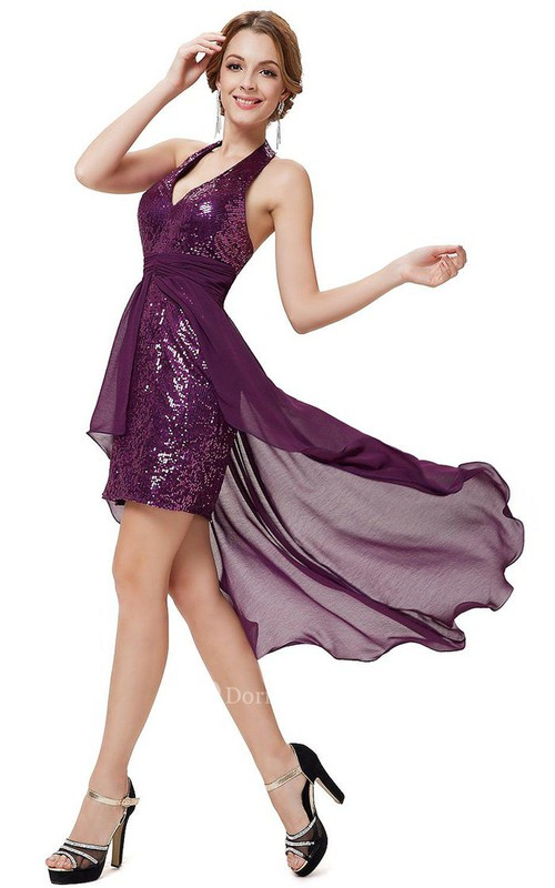 Halter Sequined Short Dress With Chiffon Overlay