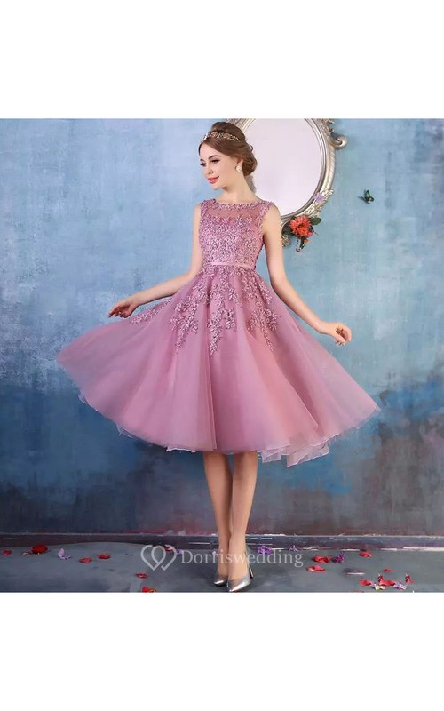 Short Mini Sleeveless Tulle Adorable A-Line Scoop Petite Zipper Back Appliques Bridesmaid Dress